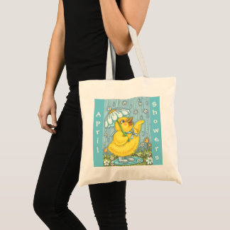 APRIL SHOWERS, SPRING CHICK TOTE BAG