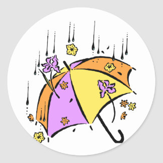 April Showers Umbrella Round Stickers