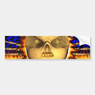 April skull real fire and flames bumper sticker car bumper sticker