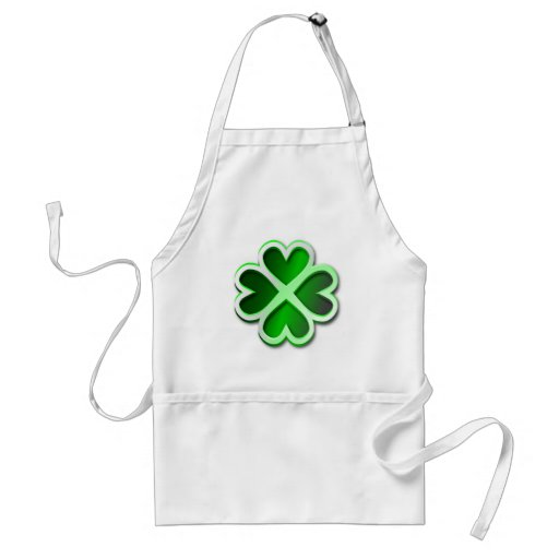 Apron glossy green quatrefoil St. Patrick's Day