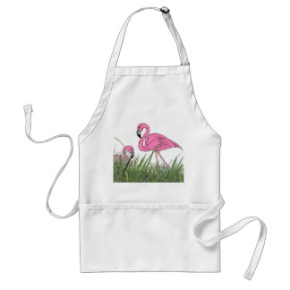 APRON ~ LAWN FLAMINGOS YARD COOK-OUT TIKI BAR