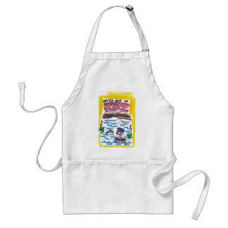 Apron with animated pictures of funny church signs
