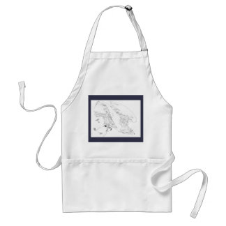 Apron with blue trim and pen and Ink Eagle