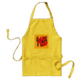 Apron with drawing of abstract hen
