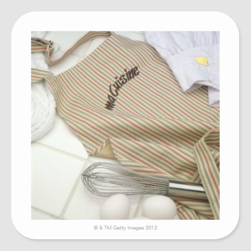 Apron with eggs and whisk stickers