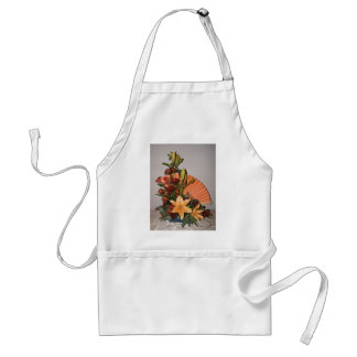 Apron with Floral Design and Fan