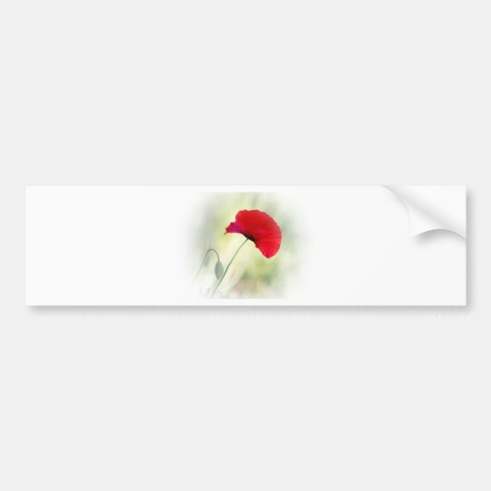 """Apron with red poppy """"Be happy!"""" Bumper Sticker"""