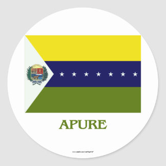 Apure Flag with Name Round Sticker