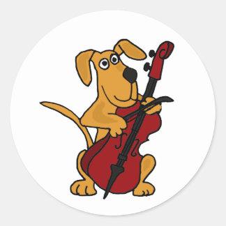 AQ- Brown Puppy Dog Playing the Cello Round Sticker