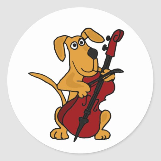 AQ- Brown Puppy Dog Playing the Cello Stickers