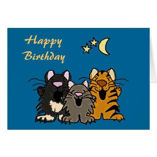 AQ- Cats Singing Birthday Card