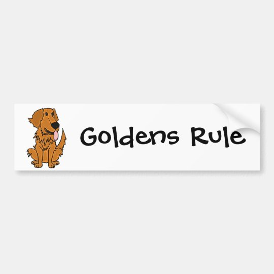 AQ- Funny Golden Retriever Dog Cartoon Bumper Sticker