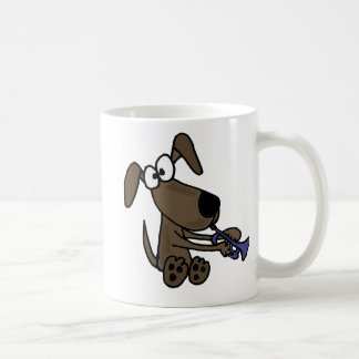 AQ- Funny Puppy Dog Playing Trumpet Cartoon Classic White Coffee Mug