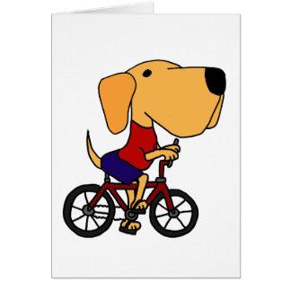 AQ- Yellow Labrador Dog Riding Bicycle Cartoon Cards
