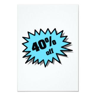 Aqua 40 Percent Off 9 Cm X 13 Cm Invitation Card