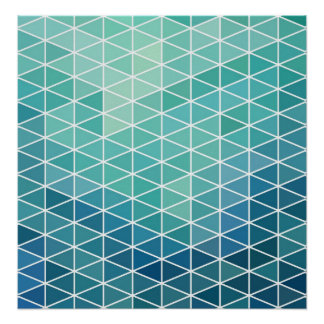 Aqua Abstract Triangles Poster