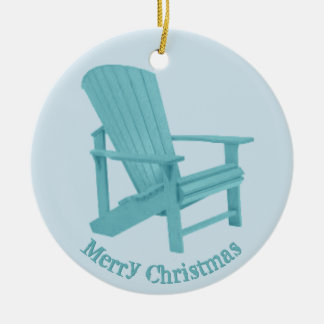 Aqua Adirondack Chair Your Text Christmas Ornament
