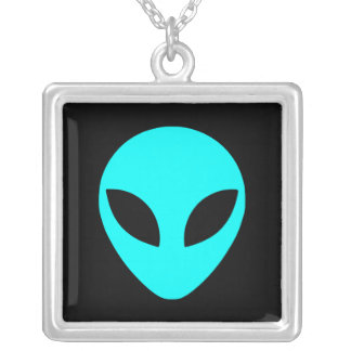 Aqua Alien Head Silver Plated Necklace
