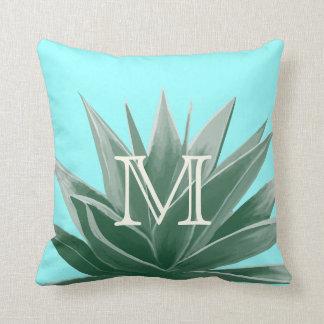 Aqua Aloe Succulent Ivory Monogram Modern Pillow