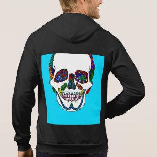 Aqua Anatomical Sugar Skull Mosaic Hoodies