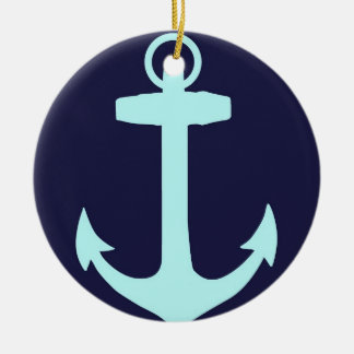 Aqua Anchor on Navy Blue Background. Christmas Ornament
