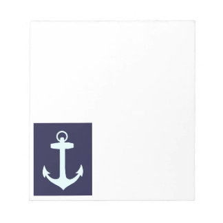 Aqua Anchor on Navy Blue Background. Notepad
