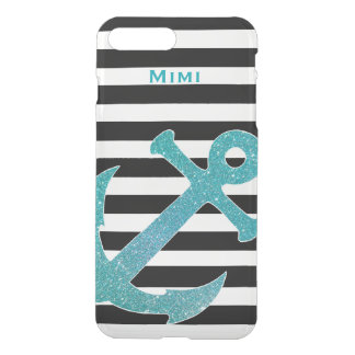 Aqua Anchor on Stripes Clear iPhone7 Plus Case