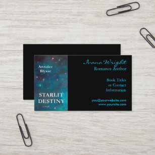 Book cover business cards business card printing zazzle uk aqua and black book cover author business card reheart Image collections