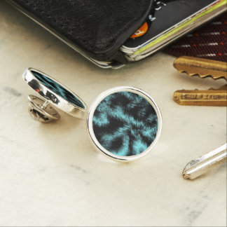 Aqua and Black Modern Art Lapel Pin