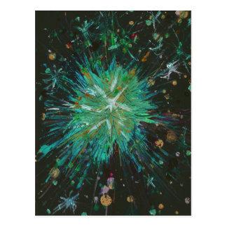 Aqua and black starburst abstract art postcard