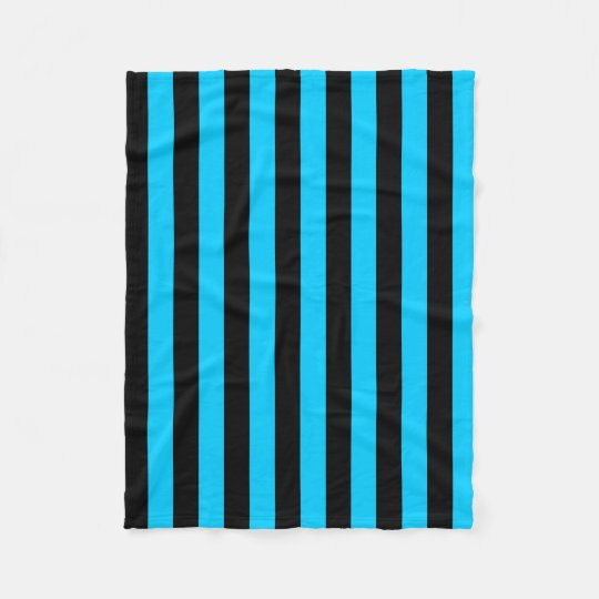 Aqua and Black Stripe Pattern Fleece Blanket