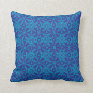 Aqua and Blue Abstract Throw Pillow