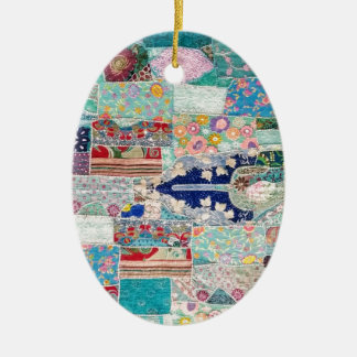 Aqua and Blue Quilt Tapestry Design Christmas Ornament