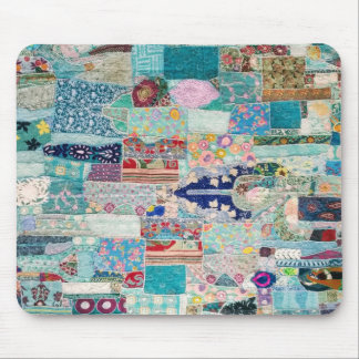 Aqua and Blue Quilt Tapestry Design Mouse Mat