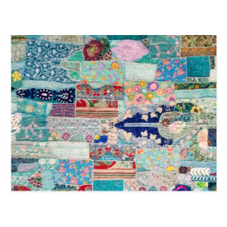 Aqua and Blue Quilt Tapestry Design Postcard