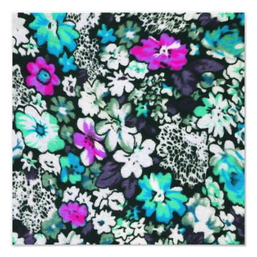 Aqua and Bright Pink Floral Print Photographic Print