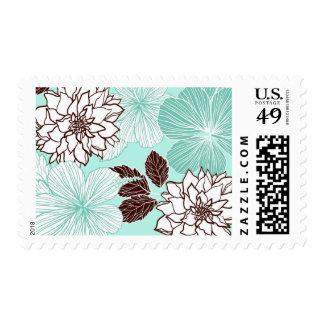 Aqua and Brown Flowers Wedding Postage Stamp