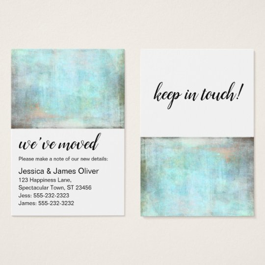 Aqua and Brown Grunge We've Moved Handout Card