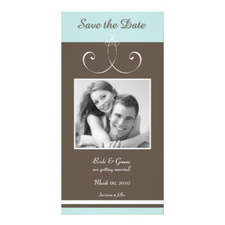 Aqua and Brown Save the Date Photo Cards