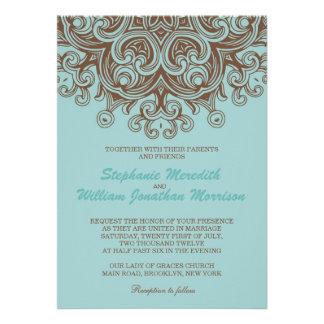 Aqua and Brown Wedding Invitation