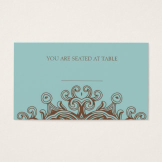 Aqua and Brown Wedding Placecards Business Card