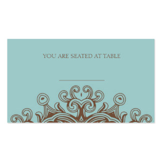 Aqua and Brown Wedding Placecards Pack Of Standard Business Cards