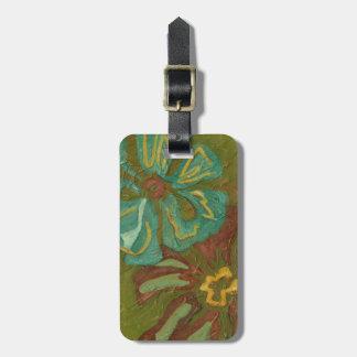 Aqua and Burnt Orange Flowers on Green Background Bag Tags
