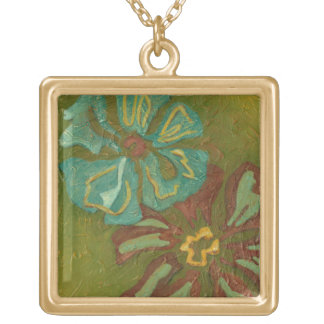 Aqua and Burnt Orange Flowers on Green Background Gold Plated Necklace