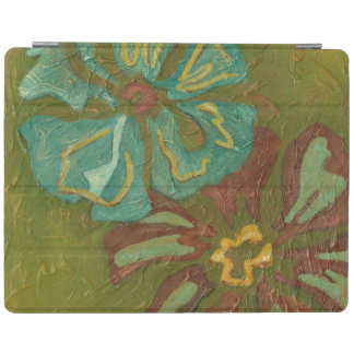 Aqua and Burnt Orange Flowers on Green Background iPad Cover