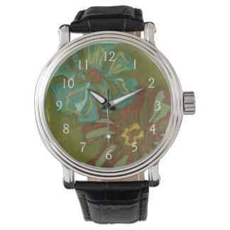 Aqua and Burnt Orange Flowers on Green Background Wrist Watches