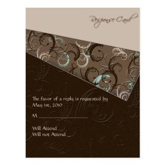 Aqua and Chocolate Floral Postcard
