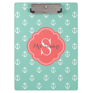 Aqua and Coral Anchors Custom Monogram Clipboard