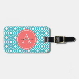 Aqua and Coral Gail Print Luggage Tag