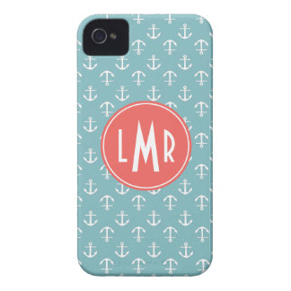Aqua and Coral Monogram Anchors Pattern iPhone 4 Cases
